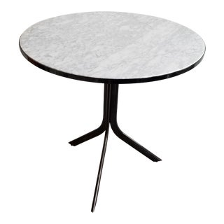 Round Cafe Bistro Table With Carrera Marble Top For Sale