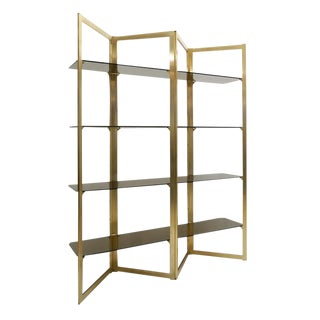 Mid-Century Folded Brass Étagère With Four Glass Shelves, France, Circa 1960 For Sale