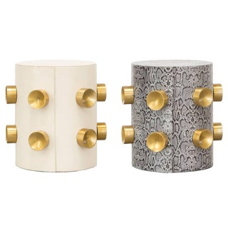 Gold Studs Leather Side Tables - a Pair