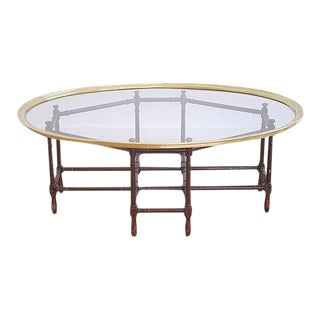 Baker Faux Bamboo & Brass Coffee Table For Sale