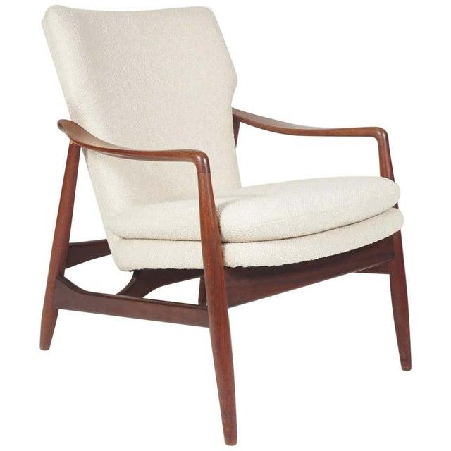 Cream Sculptural Ib Kofod Larsen Midcentury Teak Frame Lounge Armchair From Denmark For Sale - Image 8 of 8
