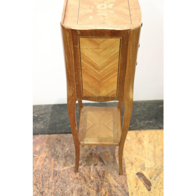 Brown 20th Century Italian Louis XV Style Inlay Wood Pair of Side Tables or Nightstand For Sale - Image 8 of 13