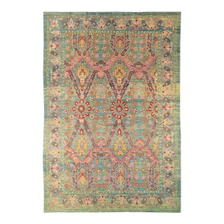 Oversize Modern Oushak Handmade Green and Pink Tribal Wool Rug For Sale