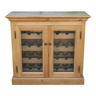 Pine Wood Wine Rack Cabinet For Sale