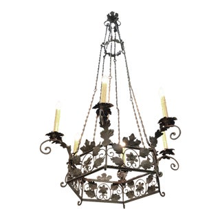 19th Century Italian Country Wrought Iron Chandelier