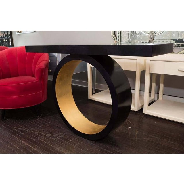 Modern Custom Black Parchment Circle Console with Gold Leaf Interior For Sale - Image 3 of 6
