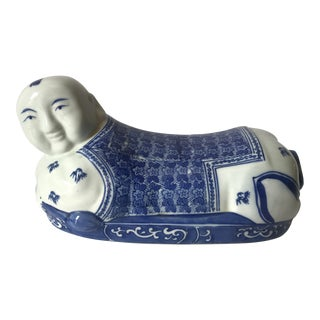 Blue and White Porcelain Opium Pillow For Sale