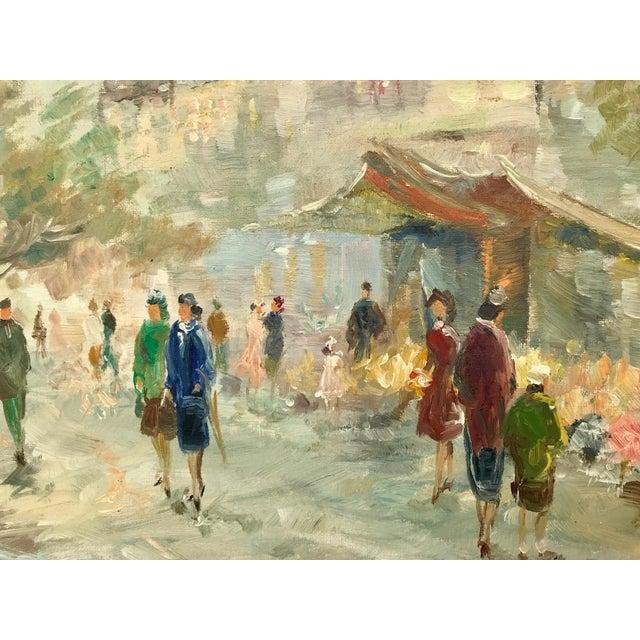 1940s Vintage Paris Street Scene Painting For Sale - Image 4 of 8