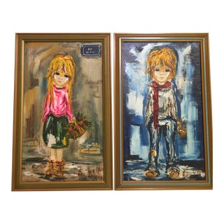 Vintage Decorative Oil Paintings of Paris Children in 1960s Big-Eye Style - a Set of 2 For Sale