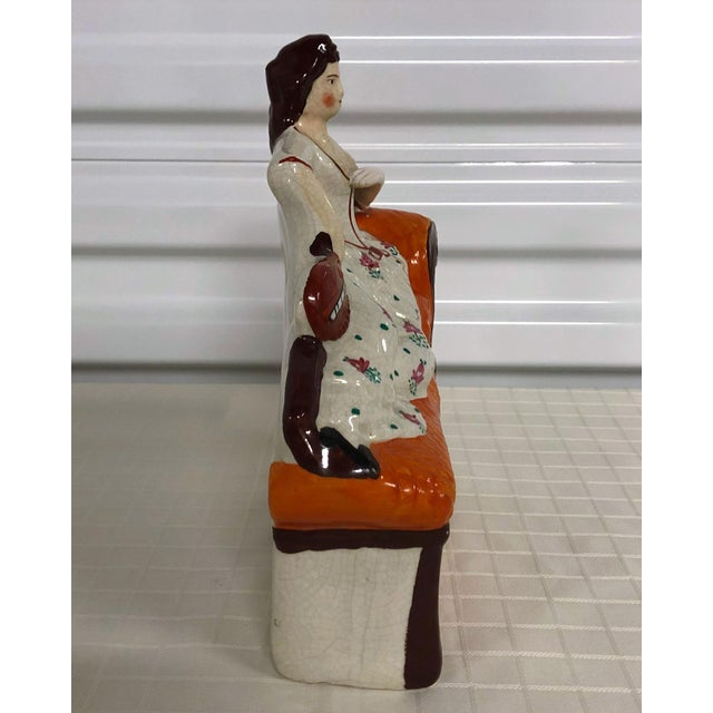 Staffordshire Staffordshire Theatrical Recumbent Lady With Mandolin Figure For Sale - Image 4 of 8