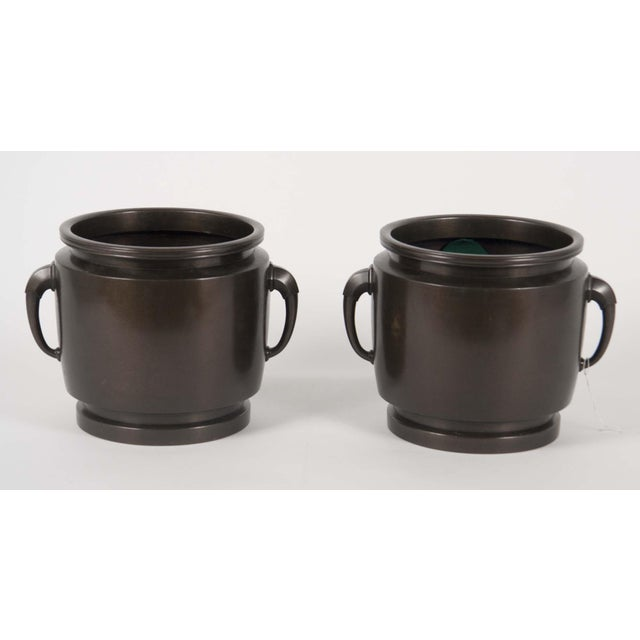 Asian Late 19th Century Japanese Showa Bronze Cache Pots For Sale - Image 3 of 3