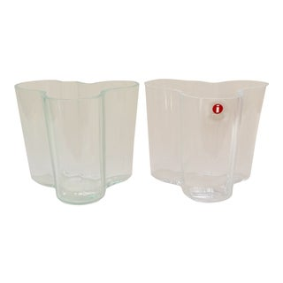 Iittala AlvarAalto Savoy Wave Modernist Vases - a Pair For Sale