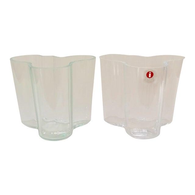 Iittala AlvarAalto Savoy Wave Modernist Vases - a Pair For Sale
