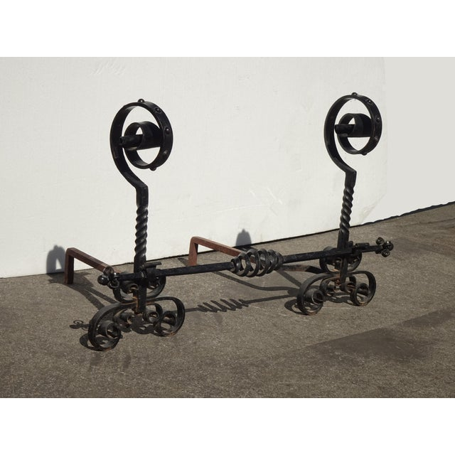 Vintage Black Wrought Iron Spanish Style Andirons W Decorative Cross Bar For Sale - Image 9 of 12