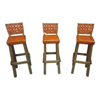 A. Brandt Ranch Oak Bar Stools - Set of 3 For Sale