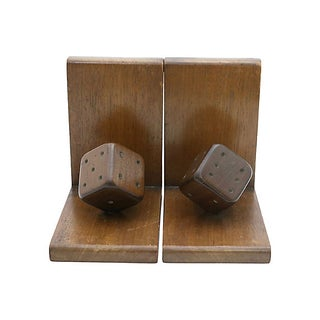 Mid-Century Wood Dice Bookends, Pair Preview