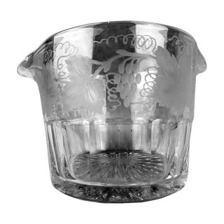 Clear Glass Wine Rinser with Engraved Grapes and Leaves For Sale
