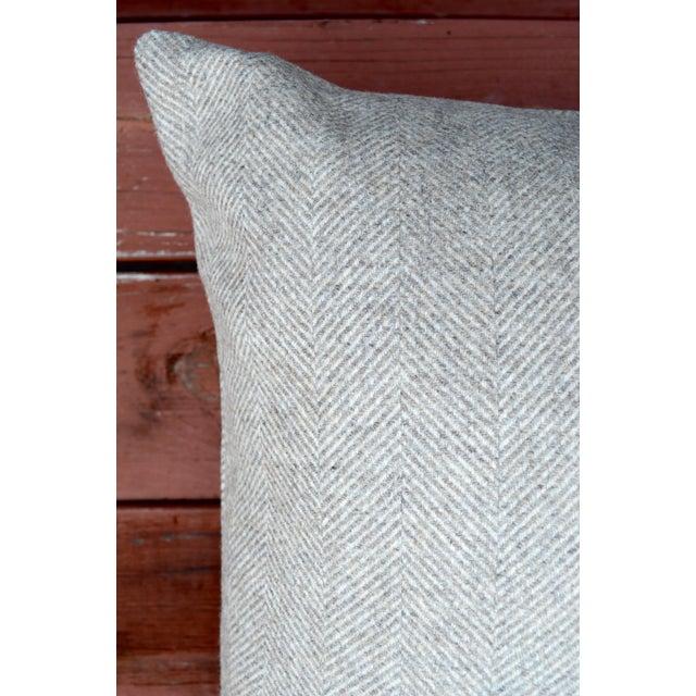 Italian FirmaMenta Eco-Friendly Neutral Herringbone Recycled Wool Pillow For Sale - Image 4 of 7