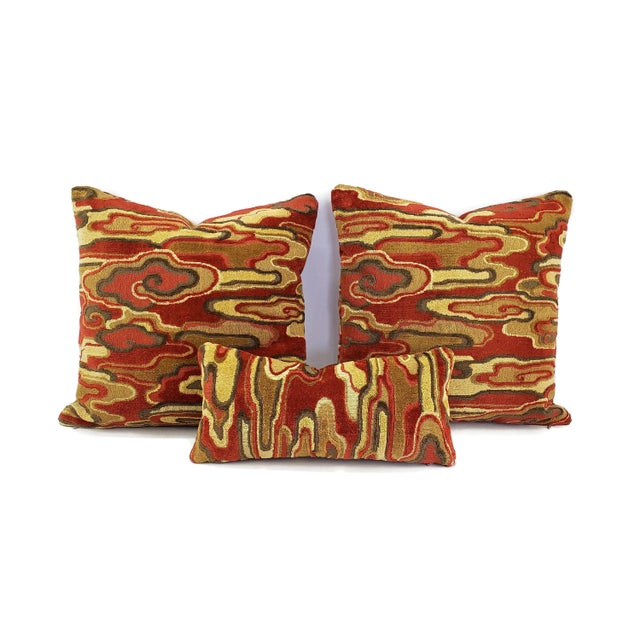 """Brunschwig & Fils Alto Velvet in Red and Camel Pillow Cover - 20"""" X 20"""" Red and Cream Linen Velvet Abstract Swirl Design Cushion Case For Sale In Portland, OR - Image 6 of 7"""