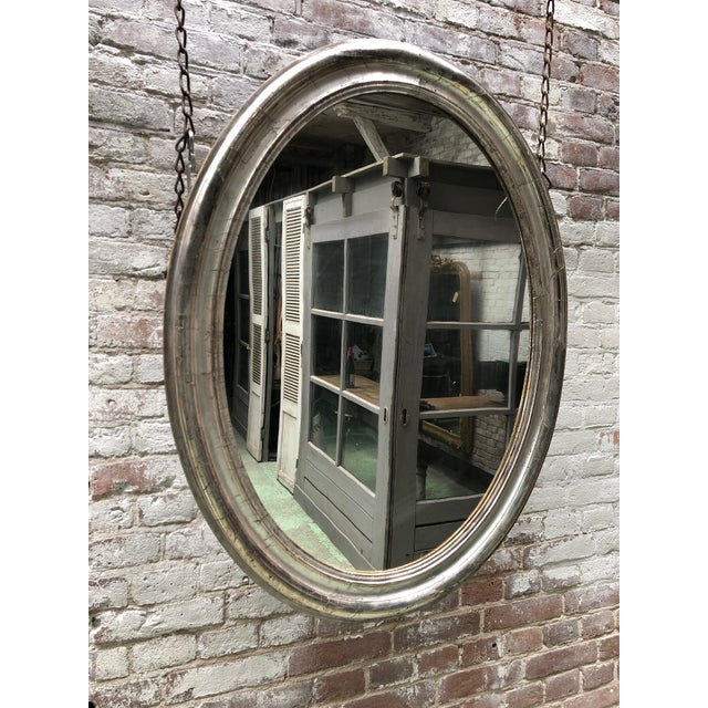 Rare 19th Century Ovale Silver Leaf Gilded Mirror For Sale - Image 4 of 7