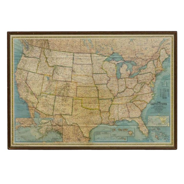 Vintage Framed Printed Map of the United States For Sale