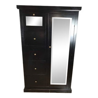 Crate & Barrel Italian Black Painted Wood Armoire