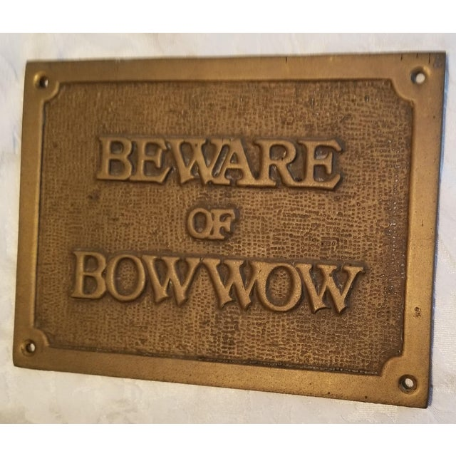 """Custom- made vintage heavy brass plaque that has a much softer sentiment than """"Beware of Dog"""". Whether your bow wow is a..."""
