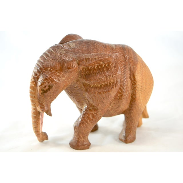Wood Hand Carved Wood Elephant For Sale - Image 7 of 9