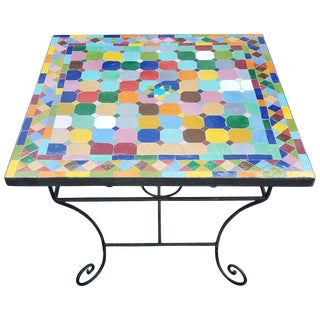 Moroccan Multicolor Mosaic Top Wrought Iron Table For Sale