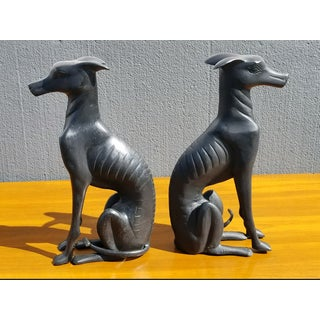 Vintage Bronze Black Greyhound Dog Statues - a Pair Preview