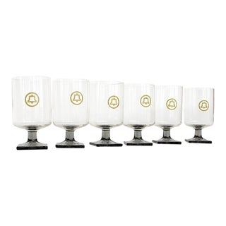 Vintage Saul Bass Bell Telephone Logo Glassware - Set of 6 For Sale