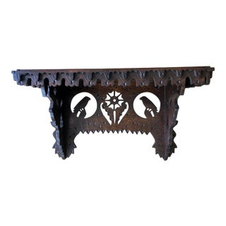 20th Century Folk Art Hand-Carved Wooden Shelf For Sale