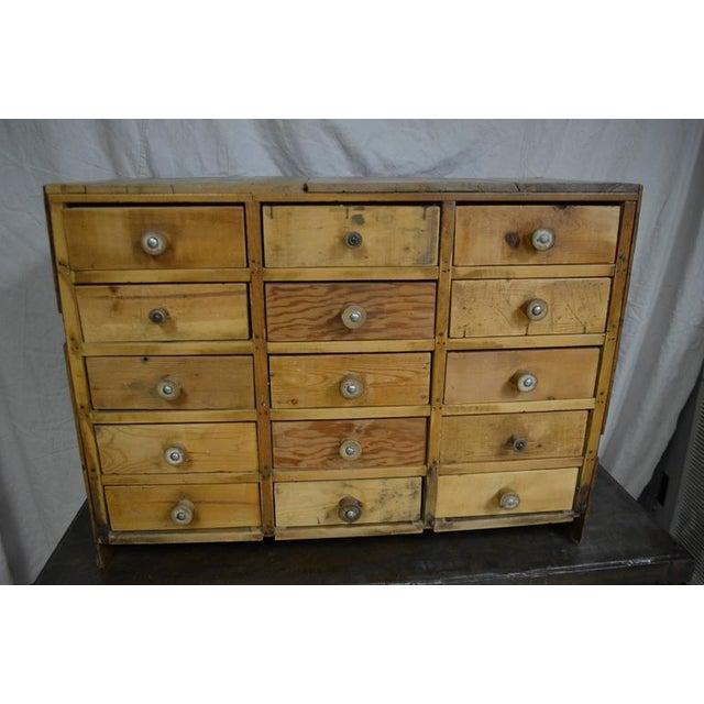 Vintage Handcrafted 15-Drawer Pine Storage Cabinet - Image 2 of 10
