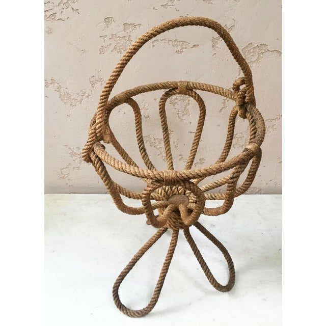 "Rare nautical rope knitting basket Audoux Minet, circa 1960. Can eventually hold plant. Measurements : 25"" with the..."