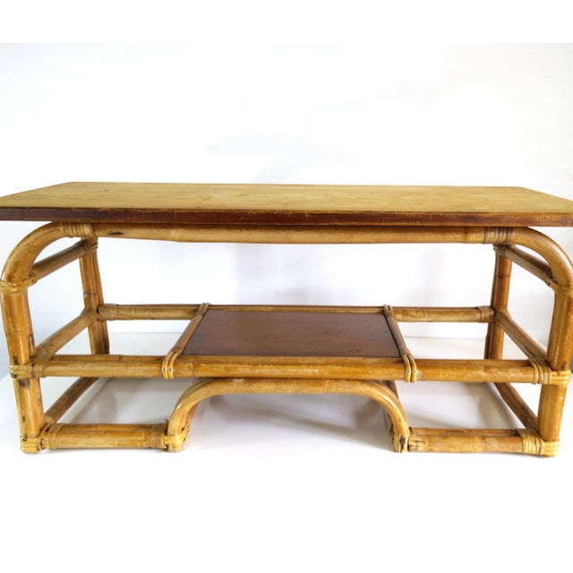 1970s Boho Chic Bamboo Coffee Table For Sale - Image 4 of 9