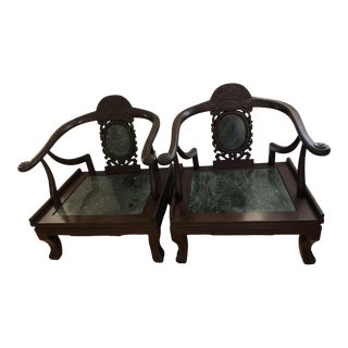 Chinese Carved Hardwood Armchairs Horseshoe Backs Marble Seats Marble Backs- a Pair For Sale