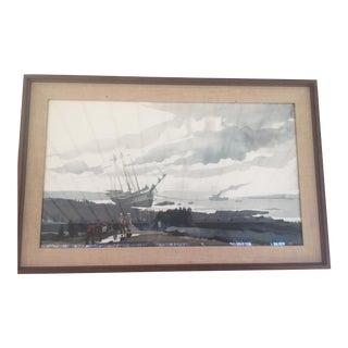 1970's Vintage Andrew Wyeth ''Schooner Aground'' For Sale