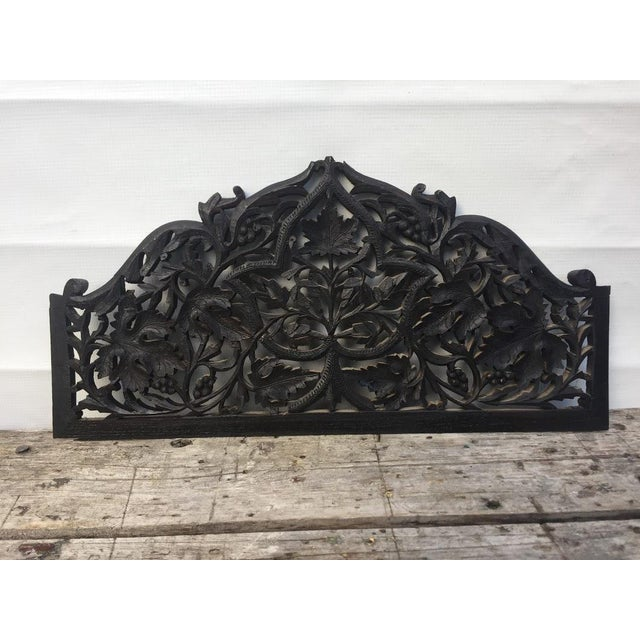 4-Panel East Indian Hand Carved Wood Screen Divider For Sale - Image 9 of 13