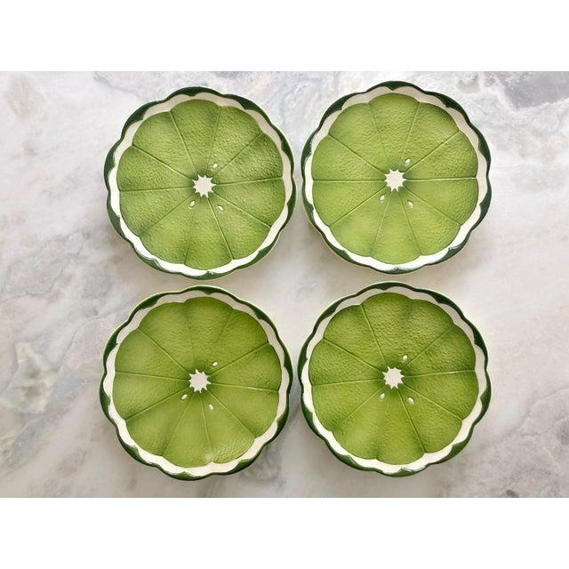 Ceramic Mid 20th Century Lenwile Ardalt Artware Lime Citrus Dinner Plates - Set of 4 For Sale - Image 7 of 8