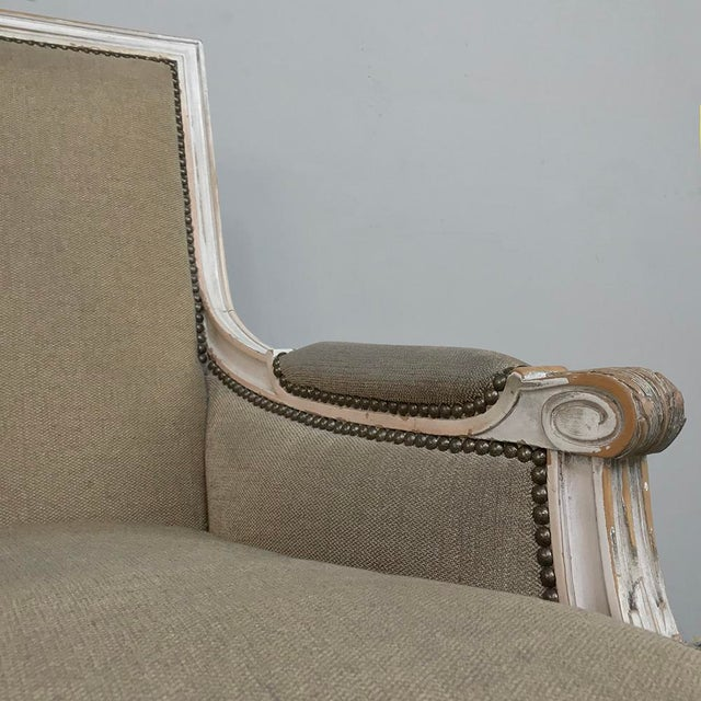 Late 19th Century Pair 19th Century French Louis XVI Bergeres ~ Armchairs For Sale - Image 5 of 13