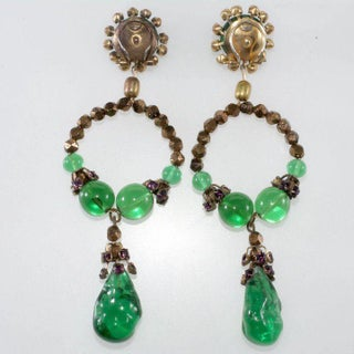 """Louis Rousselet 4"""" Long Dangle Earrings Vintage Green Glass French Designer Couture Preview"""