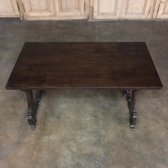Coffee Spanish Dining Table, 19th Century, in Walnut and Wrought Iron For Sale - Image 8 of 13