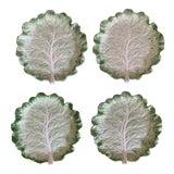 Image of Vintage Fitz & Floyd Cabbage Leaf Ironstone China Dessert Plates- Set of 4 For Sale