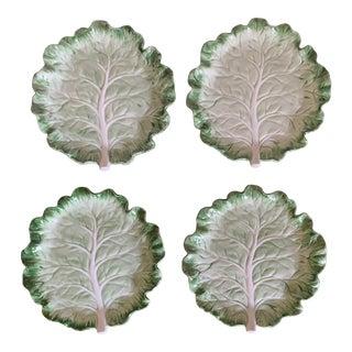 Vintage Fitz & Floyd Cabbage Leaf Ironstone China Dessert Plates- Set of 4 For Sale