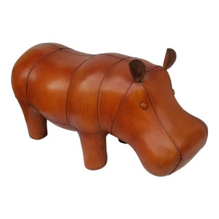 Leather Animal Hippo Footstool
