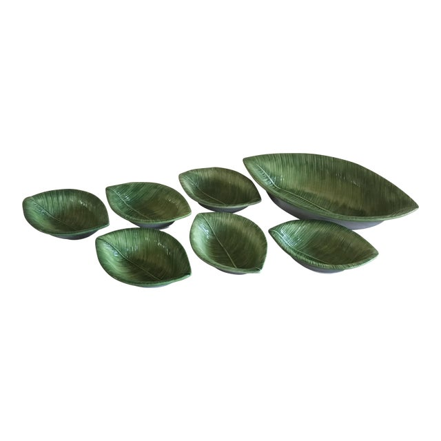 Chelsea House Porcelain Green Leaf Salad Bowl and Small Bowls - Set of 7 For Sale