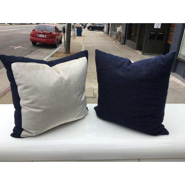 Blue Custom Navy Curly Boucle Pillows - A Pair For Sale - Image 8 of 8