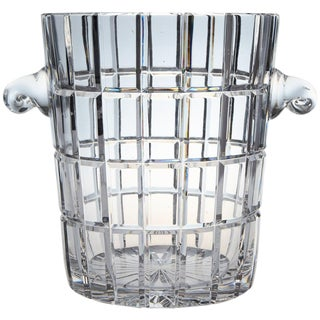 French Cut Crystal Wine Cooler or Champagne Ice Bucket With Handles, Circa 1960s For Sale