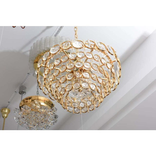 Palwa Gold Plate and Crystal Chandelier by Palwa For Sale - Image 4 of 12
