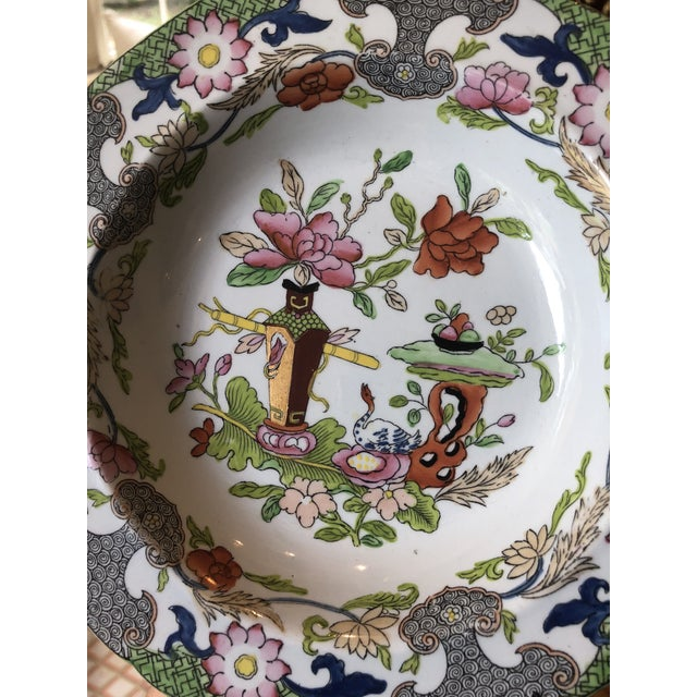 Red Antique Floral Detail Ironstone Bowls - Set of Four For Sale - Image 8 of 10